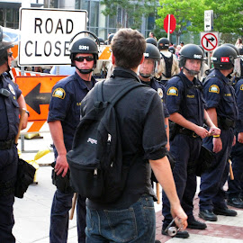 Police barracading street. by Dan Dusek - News & Events US Events ( demostration, news photography, police, news, event )