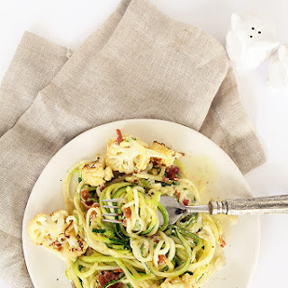 Zucchini Spaghetti, Crispy Prosciutto and Roasted Cauliflower with Lemon-Parmesan Sauce