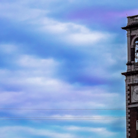 The Sky by Khadija Shahzad - Buildings & Architecture Architectural Detail ( clouds, calm, tower, blue sky, sky, church, clock, art, artistic, town, architecture )