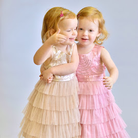 Dancing II by Melanie Pista - Babies & Children Child Portraits ( two, girls, dancing, pink, twins )