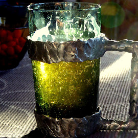 One cold sunny beer by Ann Bøhn - Food & Drink Alcohol & Drinks ( beer, sunny, glass, tin cans, drinks )