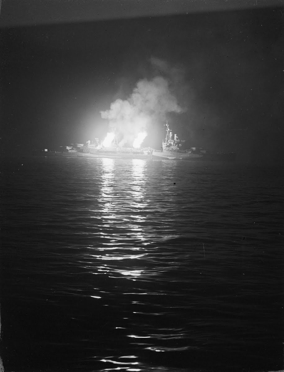 HMS Belfast firing on German positions, Ver-sur-Mer