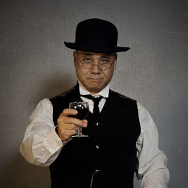 Prosit! by Mike Mashihin - People Portraits of Men ( wine, old, tie, chain, glass, retro, japanese, hat, gentleman )