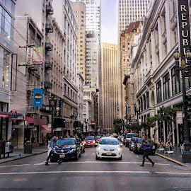 City Crosswalk by Tricia Scott - City,  Street & Park  Street Scenes ( crosswalk, building, cars, sidewalks, architecture, people, san francisco, city street, city )