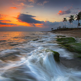beach of high tide by Budi Astawa - Landscapes Beaches ( cupel, sunset, wave, jembrana, beach, negara )