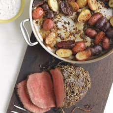 Rosemary-Garlic Roast Beef and Potatoes with Horseradish Sauce