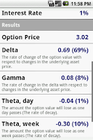 Screenshot of Options Calculator