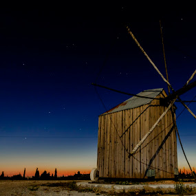 Turning Gold Into Blue by Nuno Miguel Valente - Buildings & Architecture Other Exteriors ( nightshot, night, windmill, ansiao )