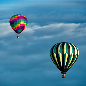 Up and Away by Kelvin Watkins - Transportation Other ( clouds, hot air, bright, color, floating, morning, balloon )