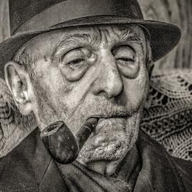 Loven Life by Michael Wolfe - People Portraits of Men ( oldman, elderly, portrait of man, coat, pipe, hat,  )