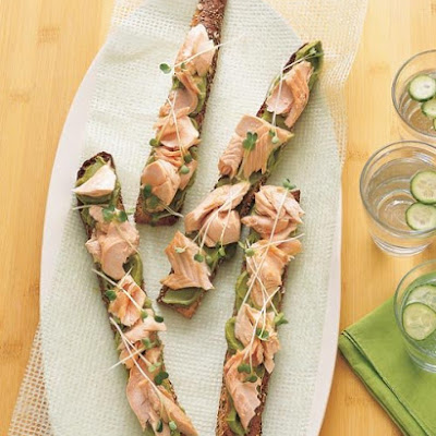 Open-Faced Salmon Sandwiches with Avocado-Wasabi Spread