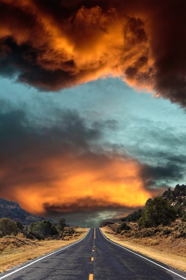Highway to Hell by Flavio Mini - Landscapes Weather ( clouds, highway, utah, stone, wet,  )