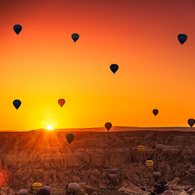 by Nayyer Reza - Transportation Other ( color, sun rise, ht air balloons, turkey, nayyer, balloons, cappadocia, reza )