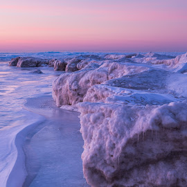 AM Pinks by Jeff Ewig - Landscapes Caves & Formations ( lake michigan, icebergs, harrington beach state park )
