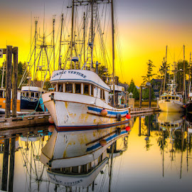 Ready For The Day by Ron Mullins - Transportation Boats ( fishing boats, fish, harbour, boats, troller, sunrise, fishing )