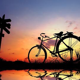 pit neng tetek sepur by Indra Prihantoro - Transportation Bicycles ( sunset, sunrise, rill, bicycle )