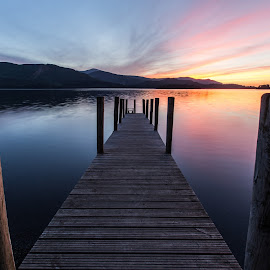 The evening Sky by Dave Taz - Landscapes Sunsets & Sunrises ( sky, waterscape, sunset, pier, evening, lake district )