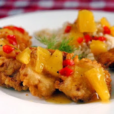 Tempura Pork Tenderloin Medallions with Pineapple Ginger Sauce