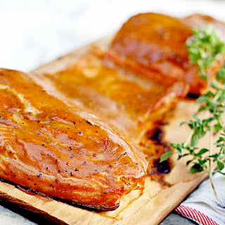 Cedar Planked Coho Salmon with Brown Sugar Dijon Glaze