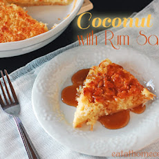 Coconut Pie with Rum Sauce – Weeknight Easy and Guest Worthy
