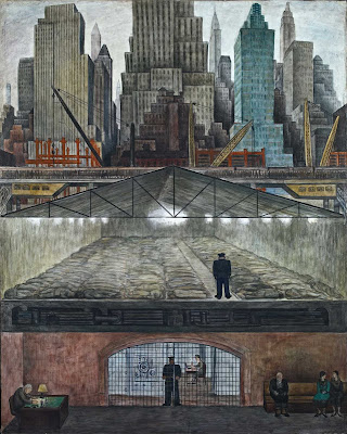 On a pier stretching from the ever-growing metropolis there is another, nefarious story supporting it all. Below the glitz of the Manhattan skyline, Rivera depicts the 99% as homeless in a shelter while the 1% of the bankers have their wealth stored in vaults.