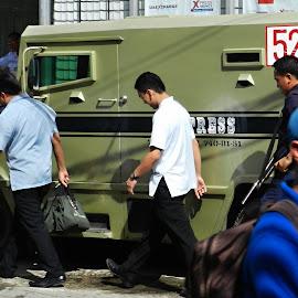 Money Transport by Marcel Cintalan - City,  Street & Park  Street Scenes ( transport, street, securit, money, philippines,  )