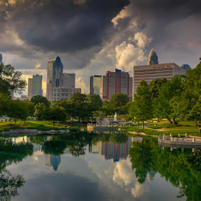 Charlotte, NC by Randell Whitworth - City,  Street & Park  Skylines ( clouds, skyline, park, hdr, nc, sunny, charlotte, pretty day )