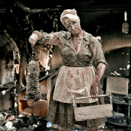 1950s Zombie Housewife by Jim Merchant - People Portraits of Women ( cleaning, zombie, housewife, 1950, zombie walk )