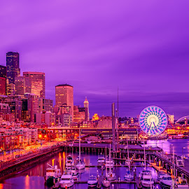 Pier 66 (Seattle's Big Wheel) by Chris Kontoravdis - City,  Street & Park  Skylines ( water, washington, park, seattle, big wheel, boats, buildings, sea, usa )
