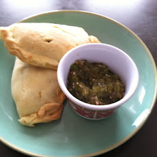 Scrambled Egg, Poblano and Goat Cheese Empanada with Salsa Verde