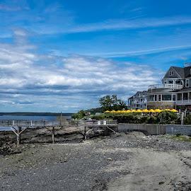 Bar Harbor Inn, ME by Barb Hauxwell - Landscapes Travel ( inn, clouds, harbor, maine, umbrella, bar harbor, yellow, beach, travel, restaurant, dock )