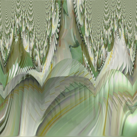 FWL 3 - Peaks by Tina Dare - Digital Art Abstract ( abstract, greens, patterns, designs, manipulated, distorted, fractal, peaks, shapes )