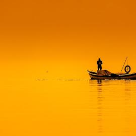 Fishermen by Murat Besbudak - Landscapes Waterscapes ( fishermen, sunset, bostanlı, karşıyaka, izmir )