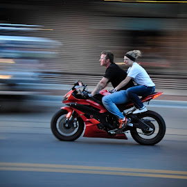 main street  by Robert Perkins - Transportation Motorcycles ( d90, motorcycle, long exposure, nikon, people,  )