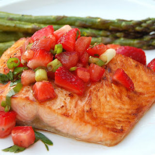 Strawberry Salsa on Grilled Salmon
