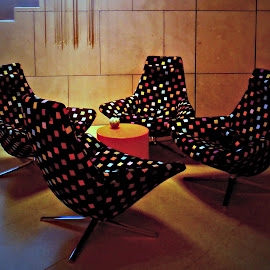 Chairs in a Nook by Tamsin Carlisle - Artistic Objects Furniture ( chair, spots, recline, stairs, corner, foyer, swivel, nook, table, dots,  )