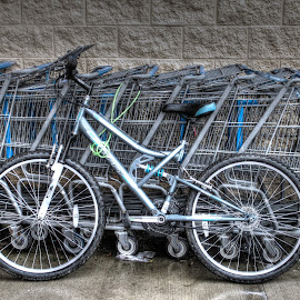 Your Ride Awaits by Penny VanAtta - Transportation Bicycles ( grocery cart, bike, transportation )