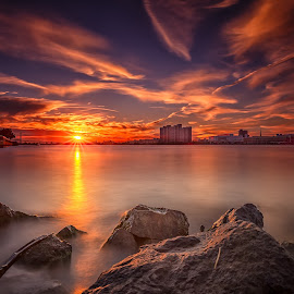 Smoke on the Water by Darren Breckles - Landscapes Sunsets & Sunrises ( graduated nd filter, sunset, sunflare, wet rocks, long exposure, 10 stop nd filter, nd filter )