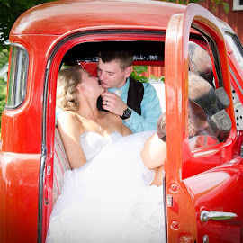 Car by Rj Smith - Wedding Bride & Groom ( kissing, wedding, bride, groom, old truck )