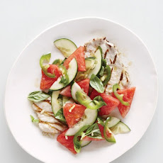 Grilled Pork Cutlets with Watermelon-Cucumber Salad