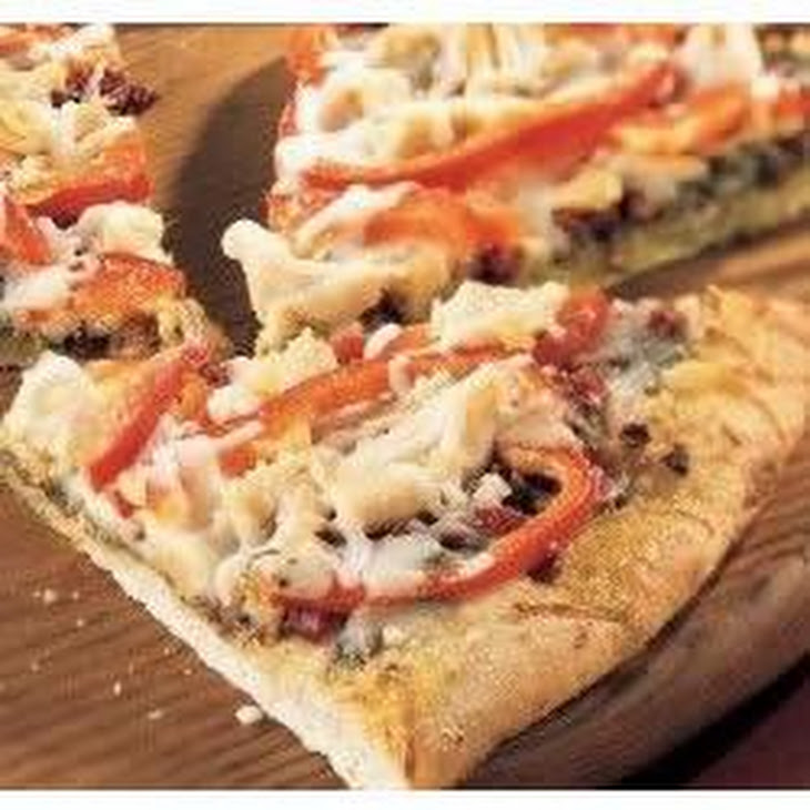 Chicken Pesto Pizza with Roasted Red Peppers and Asparagus