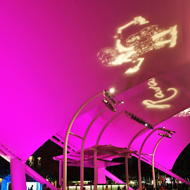 Outdoor Theater by Koh Chip Whye - Buildings & Architecture Other Exteriors ( the mood factory, mood, lighting, sassy, pink, colored, colorful, scenic, artificial, lights, scents, senses, hot pink, confident, fun, mood factory  )