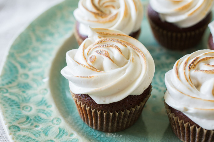 Grain-free Chocolate Cupcakes with Toasted Marshmallow Topping Recipe ...