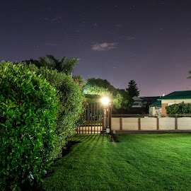 Night by Gert Rosslee - Novices Only Street & Candid ( grass, stars, green, long exposure, night )