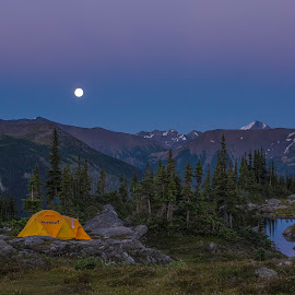 Camping in the rocies by Viktor Terlaky - Landscapes Travel ( mountains, camping, moonrise )