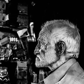 Old man in Old Lahore by Ikram Malkera - People Portraits of Men