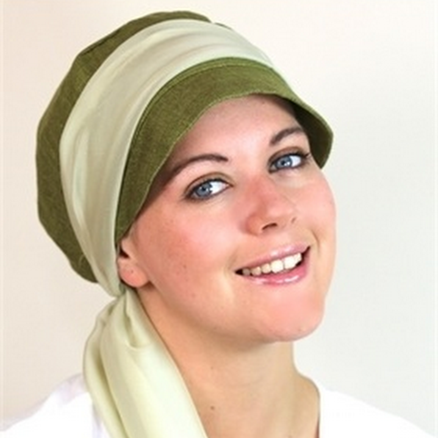 Olive soft silk hat with lush wrap