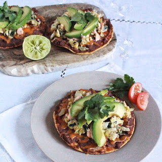 Scrambled Egg Tostadas with Black Beans, Avocado & Spicy Mayo