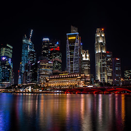 Skyline of Singapore by Sebastièn Petri - City,  Street & Park  Skylines ( skyline, buildings, night, singapore, city )