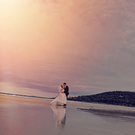 Love is in the air by Alan Evans - Wedding Bride & Groom ( julie, wedding photography, sunset, bride and groom, couples in love,  )
